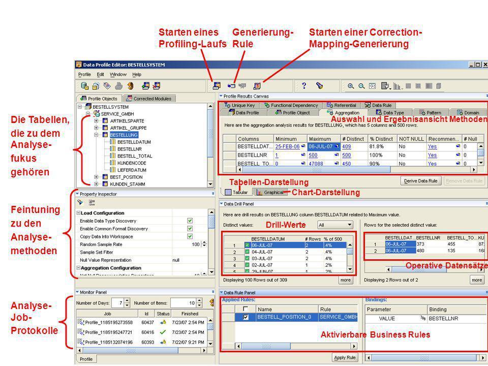 Auswahl und Ergebnisansicht Methoden Chart-Darstellung Tabellen-Darstellung Drill-Werte Operative Datensätze Die Tabellen, die zu dem Analyse- fukus g