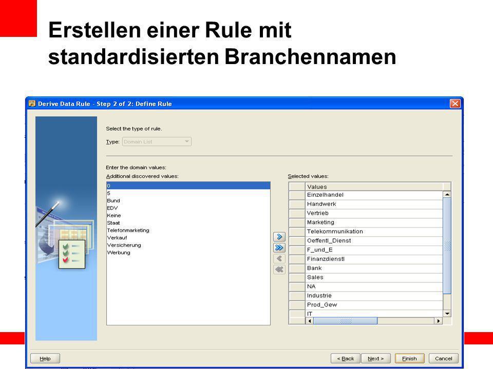 Erstellen einer Rule mit standardisierten Branchennamen