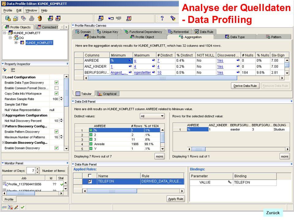 Zrück Analyse der Quelldaten - Data Profiling Zurück