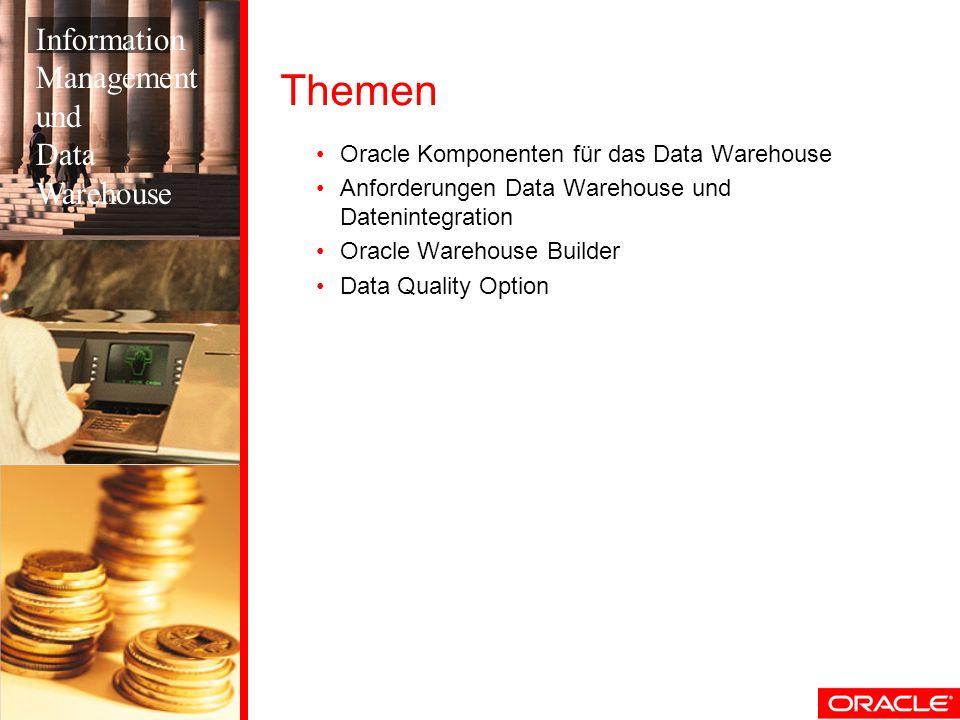 Themen Oracle Komponenten für das Data Warehouse Anforderungen Data Warehouse und Datenintegration Oracle Warehouse Builder Data Quality Option Inform
