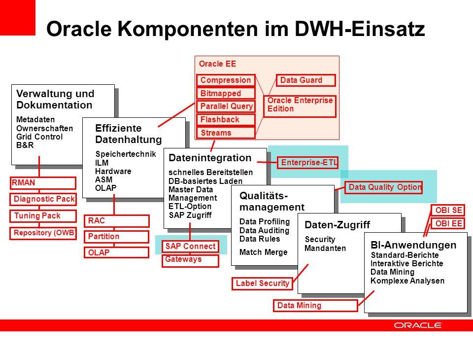Verwaltung und Dokumentation Metadaten Ownerschaften Grid Control B&R Oracle Komponenten im DWH-Einsatz Effiziente Datenhaltung Speichertechnik ILM Ha