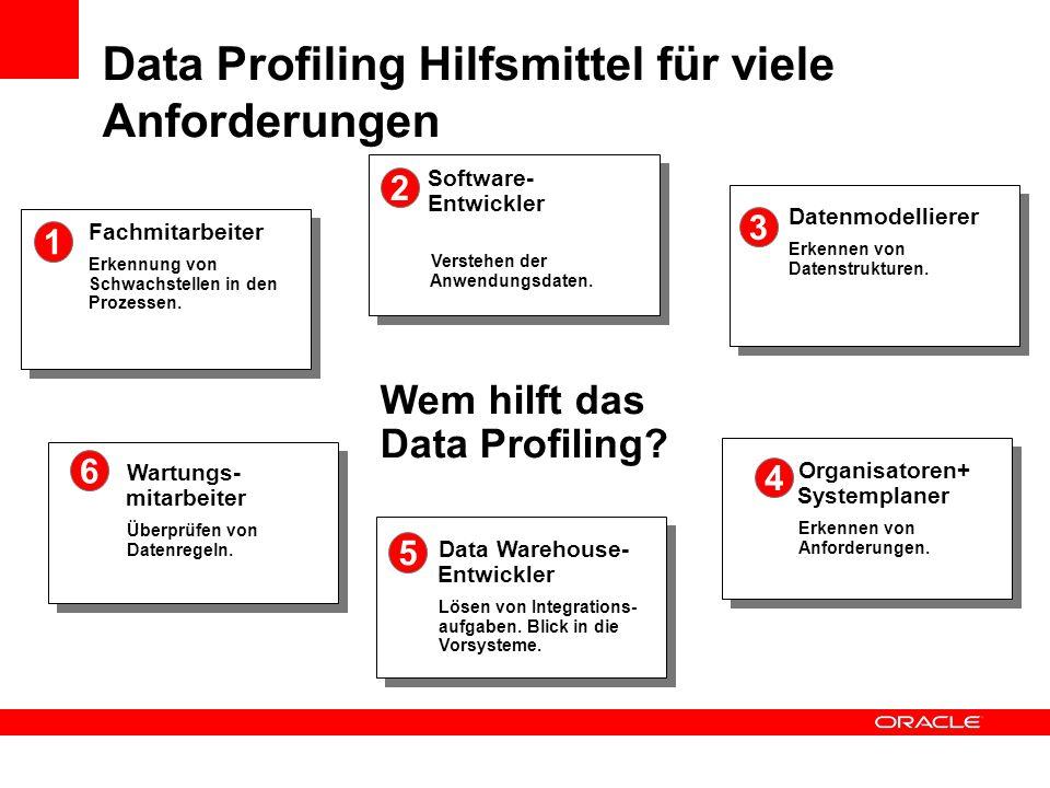 Wem hilft das Data Profiling? Software- Entwickler Verstehen der Anwendungsdaten. 2 Datenmodellierer Erkennen von Datenstrukturen. 3 Organisatoren+ Sy