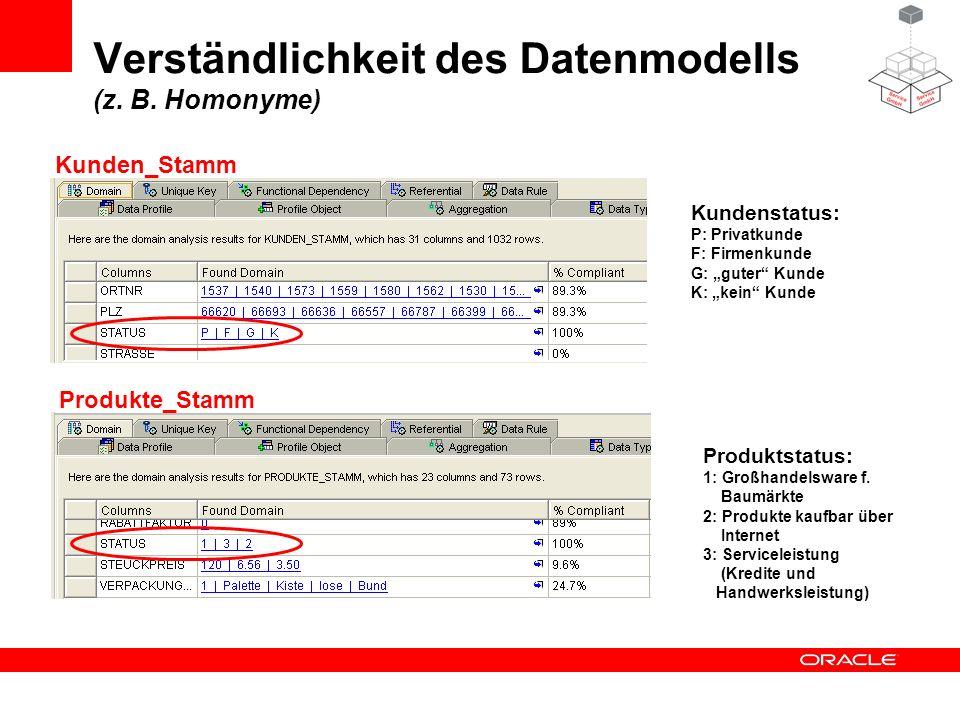 Verständlichkeit des Datenmodells (z. B. Homonyme) Kundenstatus: P: Privatkunde F: Firmenkunde G: guter Kunde K: kein Kunde Produktstatus: 1: Großhand