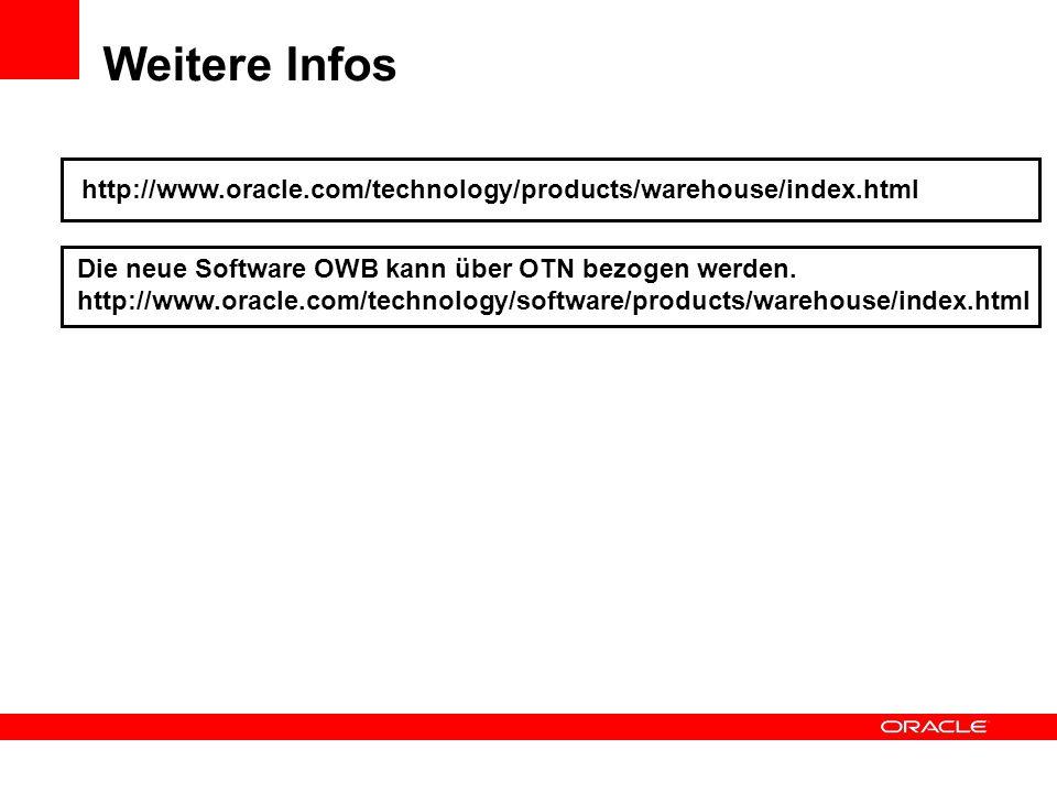 Weitere Infos http://www.oracle.com/technology/products/warehouse/index.html Die neue Software OWB kann über OTN bezogen werden. http://www.oracle.com