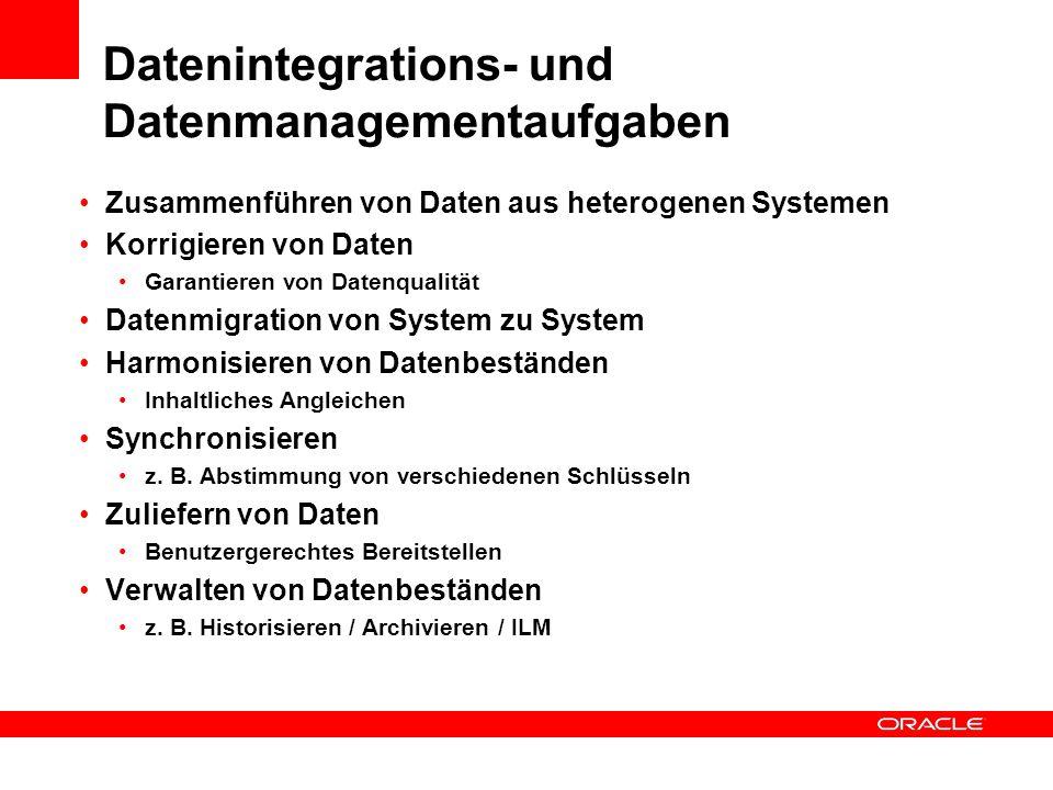 Datenintegrations- und Datenmanagementaufgaben Zusammenführen von Daten aus heterogenen Systemen Korrigieren von Daten Garantieren von Datenqualität D