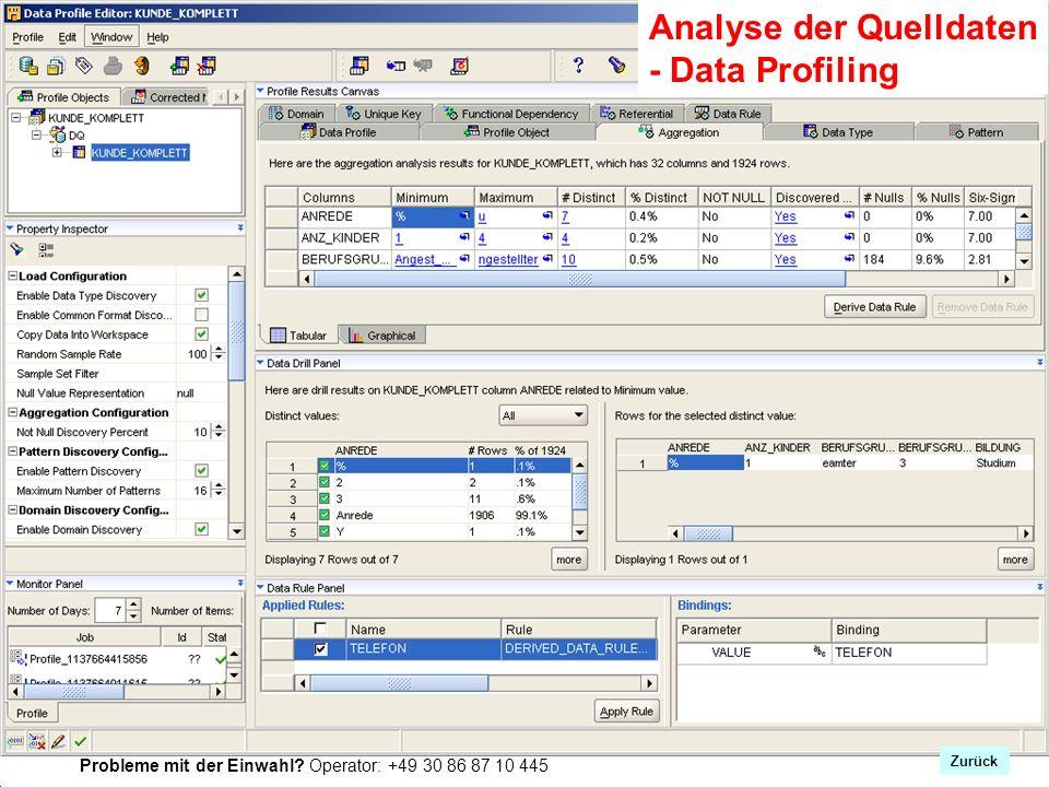 Probleme mit der Einwahl? Operator: +49 30 86 87 10 445 Zrück Analyse der Quelldaten - Data Profiling Zurück