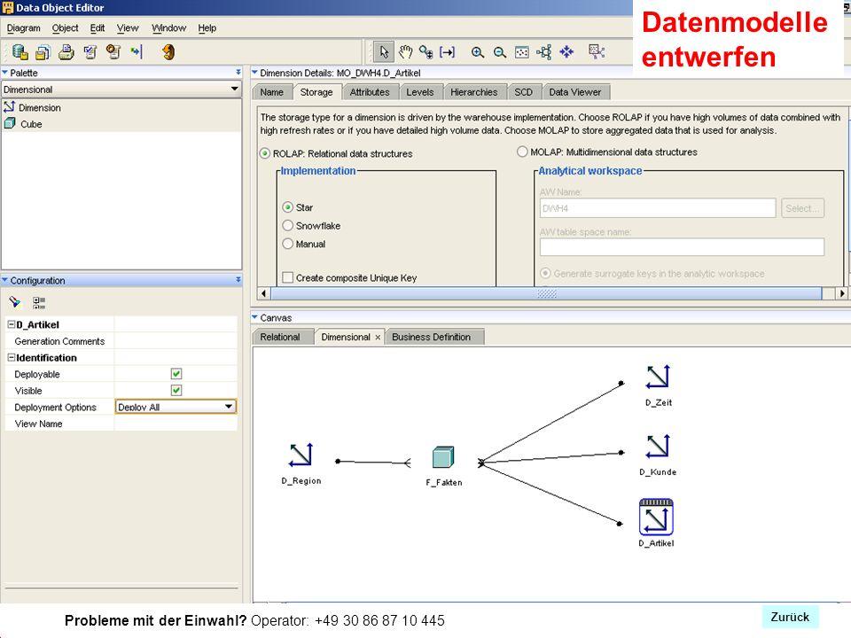 Probleme mit der Einwahl Operator: +49 30 86 87 10 445 Datenmodelle entwerfen Zurück