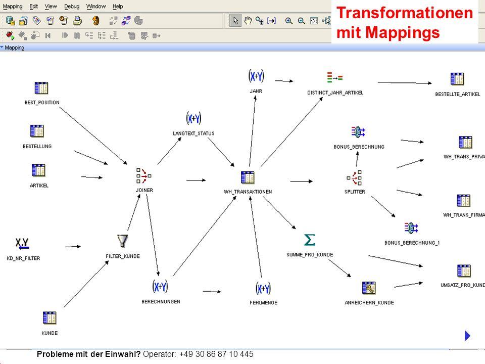 Probleme mit der Einwahl? Operator: +49 30 86 87 10 445 Transformationen mit Mappings