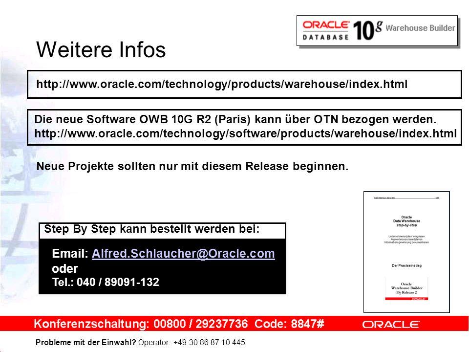 Probleme mit der Einwahl? Operator: +49 30 86 87 10 445 Weitere Infos http://www.oracle.com/technology/products/warehouse/index.html Die neue Software