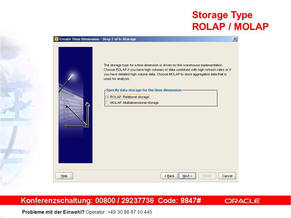 Probleme mit der Einwahl Operator: +49 30 86 87 10 445 Storage Type ROLAP / MOLAP