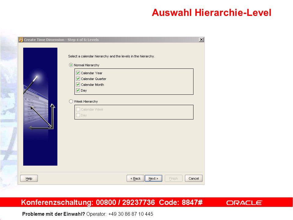 Probleme mit der Einwahl Operator: +49 30 86 87 10 445 Auswahl Hierarchie-Level