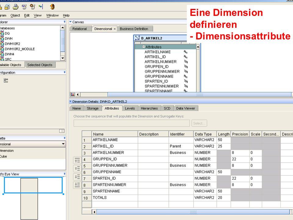 Probleme mit der Einwahl? Operator: +49 30 86 87 10 445 Eine Dimension definieren - Dimensionsattribute