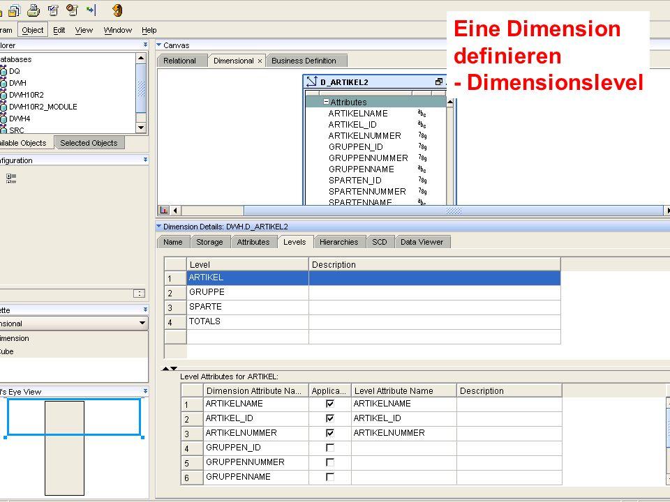 Probleme mit der Einwahl Operator: +49 30 86 87 10 445 Eine Dimension definieren - Dimensionslevel