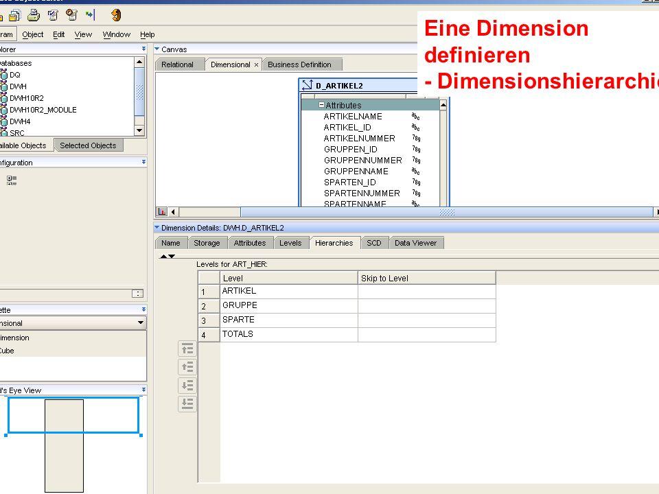 Probleme mit der Einwahl? Operator: +49 30 86 87 10 445 Eine Dimension definieren - Dimensionshierarchie