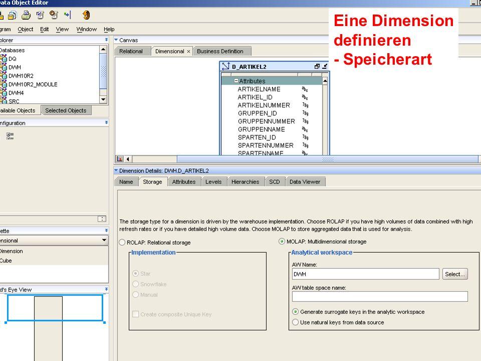 Probleme mit der Einwahl Operator: +49 30 86 87 10 445 Eine Dimension definieren - Speicherart