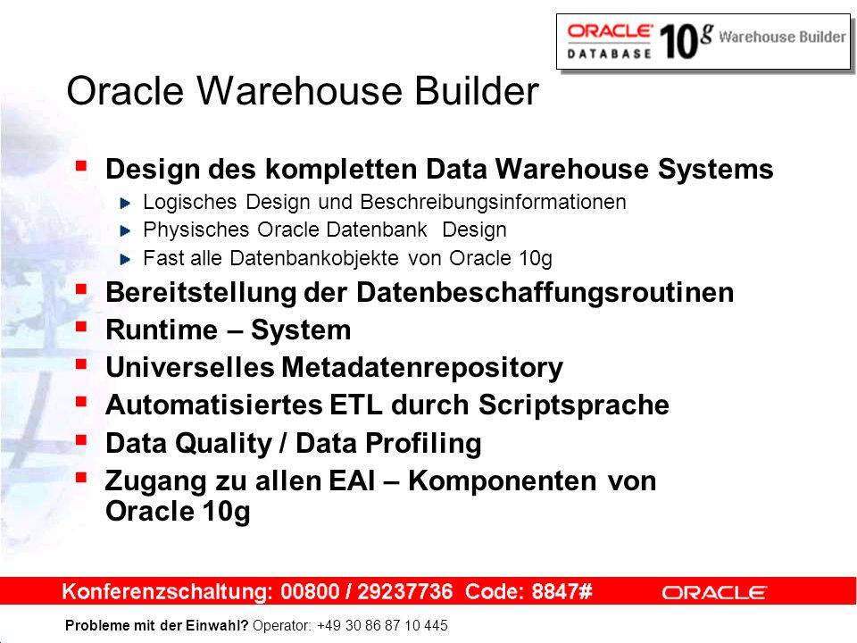 Probleme mit der Einwahl? Operator: +49 30 86 87 10 445 Oracle Warehouse Builder Design des kompletten Data Warehouse Systems Logisches Design und Bes