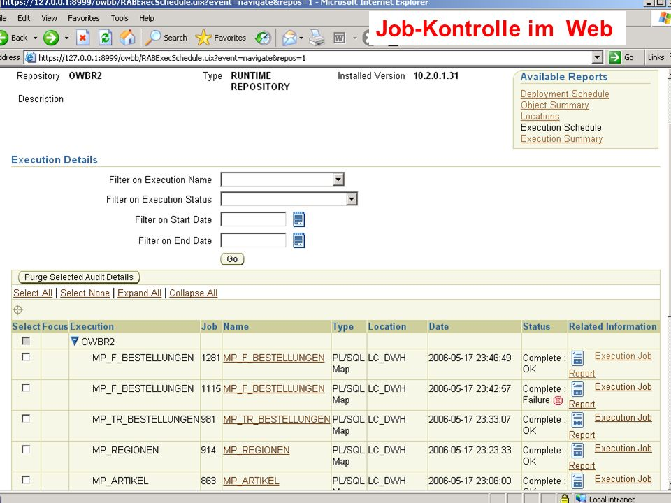 Probleme mit der Einwahl Operator: +49 30 86 87 10 445 Job-Kontrolle im Web