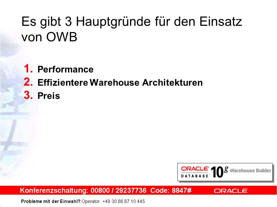 Probleme mit der Einwahl? Operator: +49 30 86 87 10 445 Es gibt 3 Hauptgründe für den Einsatz von OWB 1. Performance 2. Effizientere Warehouse Archite
