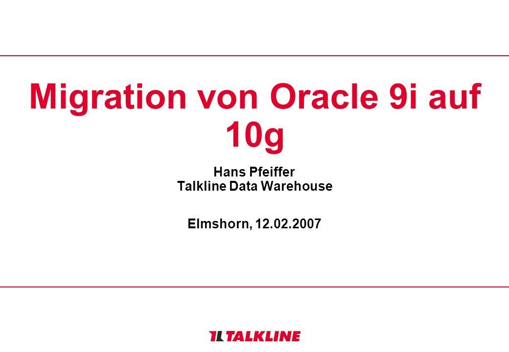 2 Ausgangspunkt Data Warehouse mit etwa 300 GB ( 1998 ) / 800 GB ( 2007 ) Datenvolumen –ursprünglich ( 1998 ) von Oracle 8.1.5 auf 8.1.7 migriert, dann auf 9i ( verschiedene Versionen + Patches ) gewechselt –intensive Nutzung von Partitionierung –Nutzung von Materialized Views in 8.1.7 wegen gravierender funktionaler Einschränkungen nicht weiter verfolgt - MVs werden heute nur rudimentär verwendet