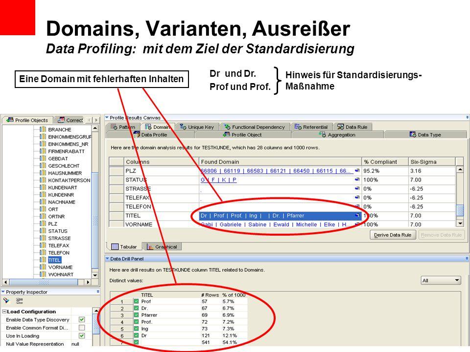 Domains, Varianten, Ausreißer Data Profiling: mit dem Ziel der Standardisierung Eine Domain mit fehlerhaften Inhalten Dr und Dr. Prof und Prof. Hinwei