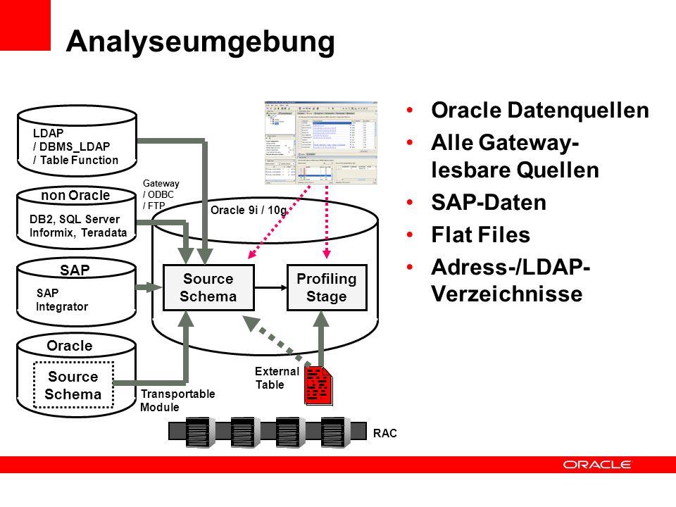 Analyseumgebung Oracle Datenquellen Alle Gateway- lesbare Quellen SAP-Daten Flat Files Adress-/LDAP- Verzeichnisse Source Schema Profiling Stage Oracl