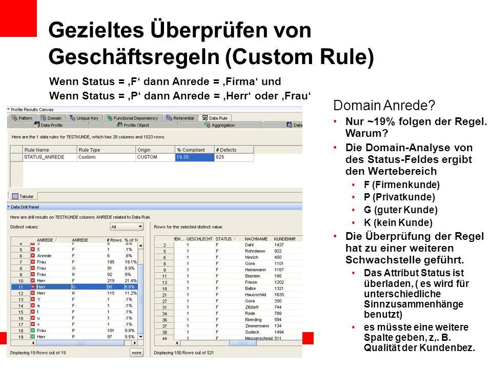Gezieltes Überprüfen von Geschäftsregeln (Custom Rule) Domain Anrede? Nur ~19% folgen der Regel. Warum? Die Domain-Analyse von des Status-Feldes ergib