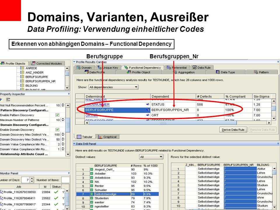 Domains, Varianten, Ausreißer Data Profiling: Verwendung einheitlicher Codes BerufsgruppeBerufsgruppen_Nr Erkennen von abhängigen Domains – Functional