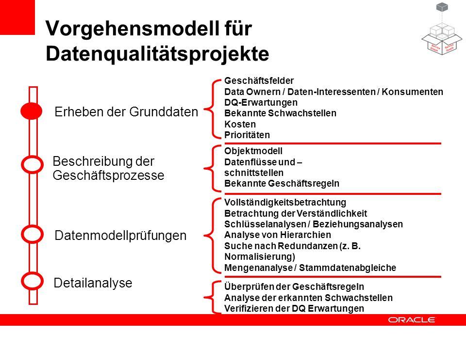 Vorgehensmodell für Datenqualitätsprojekte Erheben der Grunddaten Beschreibung der Geschäftsprozesse Datenmodellprüfungen Detailanalyse Geschäftsfelde