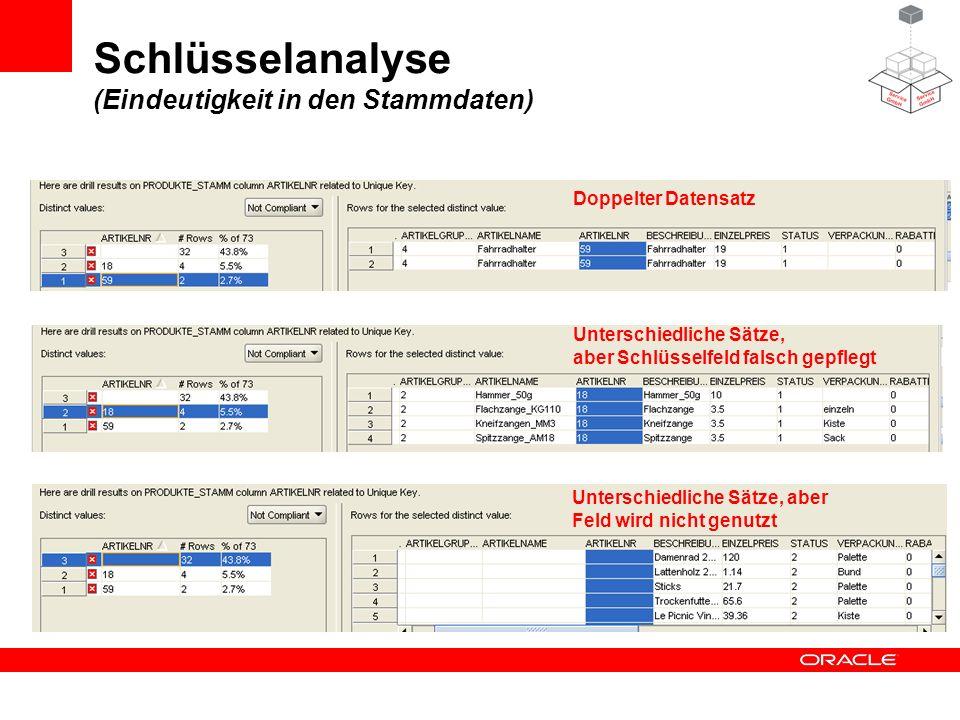 Schlüsselanalyse (Eindeutigkeit in den Stammdaten) Doppelter Datensatz Unterschiedliche Sätze, aber Schlüsselfeld falsch gepflegt Unterschiedliche Sät