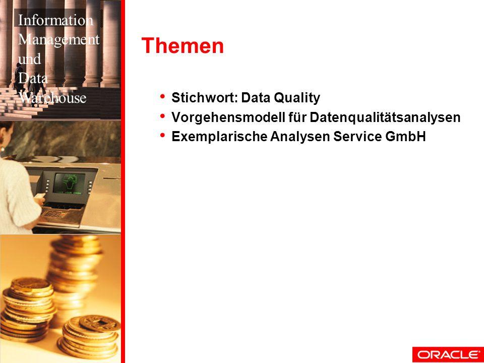 Themen Stichwort: Data Quality Vorgehensmodell für Datenqualitätsanalysen Exemplarische Analysen Service GmbH Information Management und Data Warehous