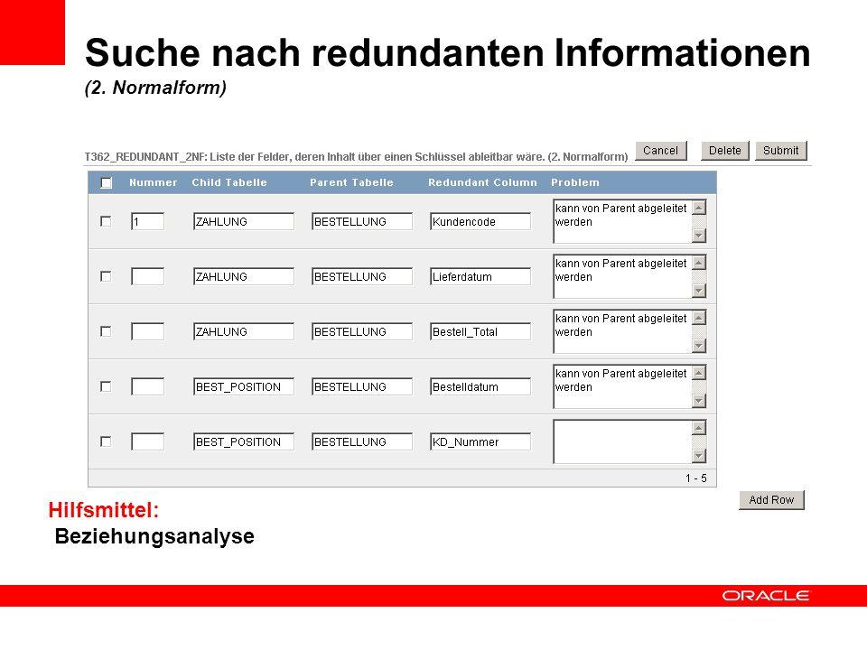 Suche nach redundanten Informationen (2. Normalform) Hilfsmittel: Beziehungsanalyse