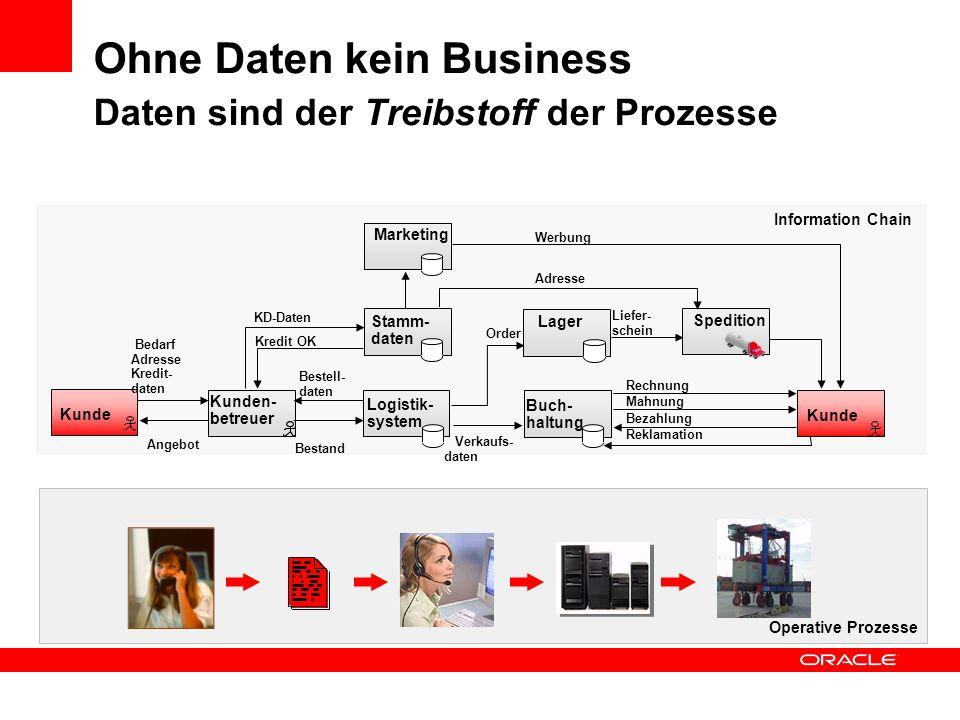 Ohne Daten kein Business Daten sind der Treibstoff der Prozesse Operative Prozesse Information Chain Kunde Kunden- betreuer Logistik- system Stamm- da