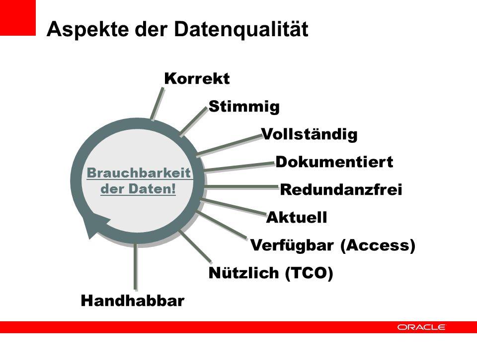 Aspekte der Datenqualität Brauchbarkeit der Daten! Verfügbar (Access) Aktuell Korrekt Vollständig Redundanzfrei Dokumentiert Handhabbar Nützlich (TCO)