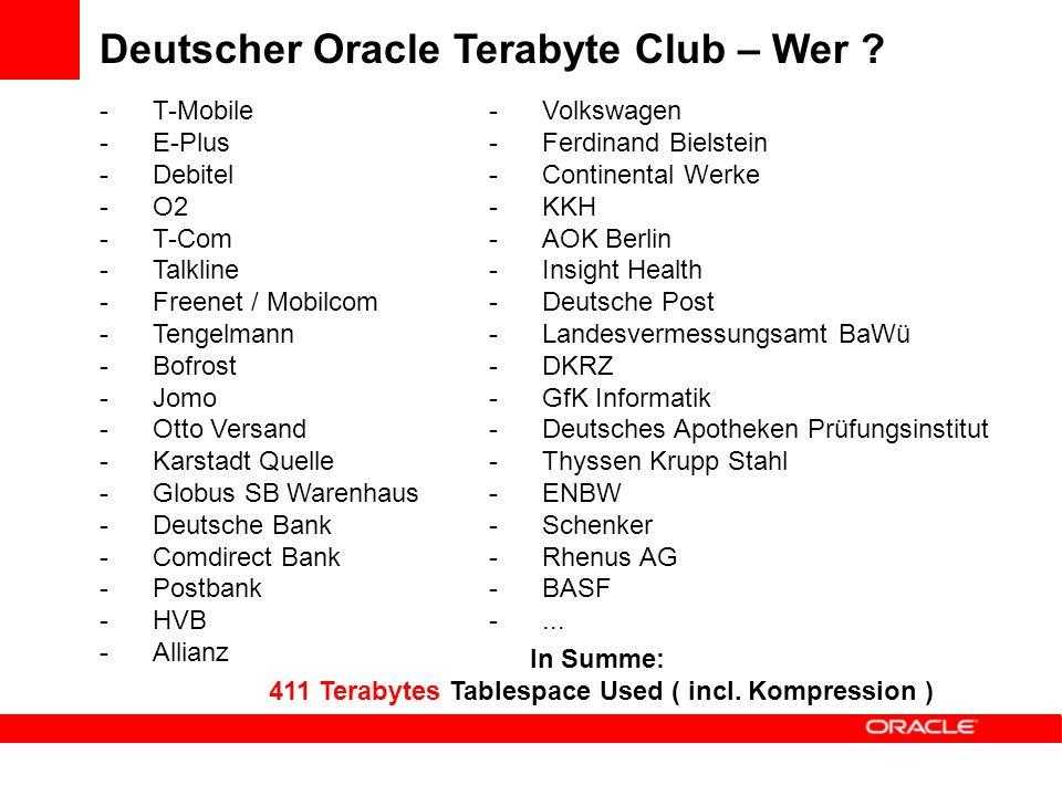 -T-Mobile -E-Plus -Debitel -O2 -T-Com -Talkline -Freenet / Mobilcom -Tengelmann -Bofrost -Jomo -Otto Versand -Karstadt Quelle -Globus SB Warenhaus -Deutsche Bank -Comdirect Bank -Postbank -HVB -Allianz Deutscher Oracle Terabyte Club – Wer .