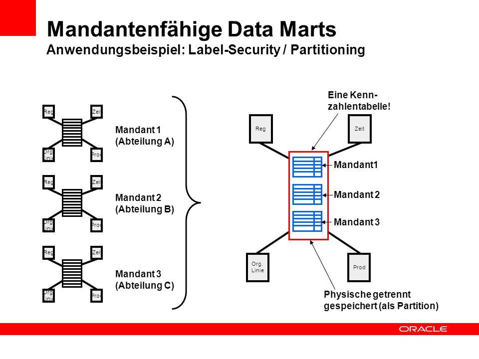Org. Linie RegZeit Org. Linie Prod Mandantenfähige Data Marts Anwendungsbeispiel: Label-Security / Partitioning RegZeit Org. Linie Prod RegZeit Org. L