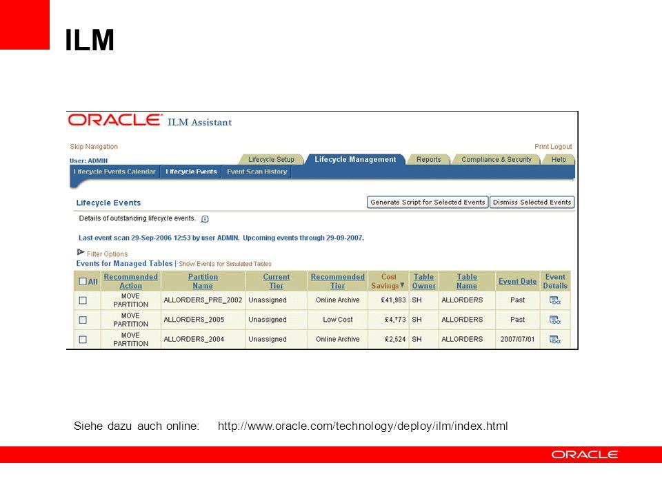 Siehe dazu auch online: http://www.oracle.com/technology/deploy/ilm/index.html ILM