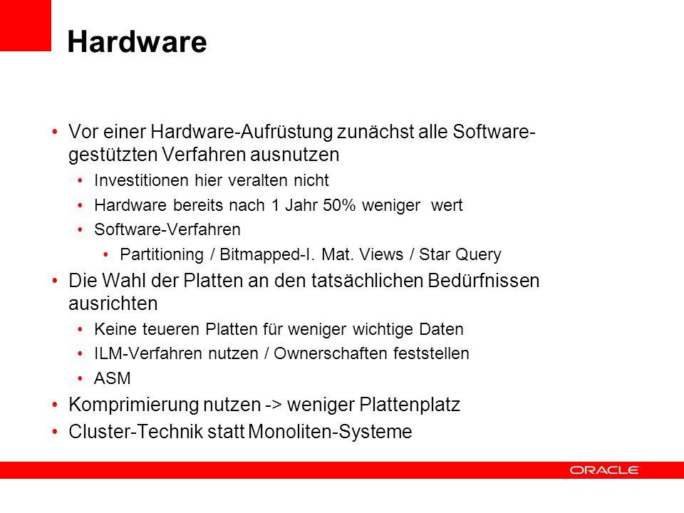Hardware Vor einer Hardware-Aufrüstung zunächst alle Software- gestützten Verfahren ausnutzen Investitionen hier veralten nicht Hardware bereits nach