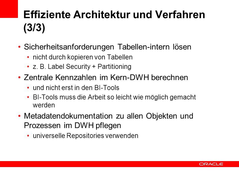 Effiziente Architektur und Verfahren (3/3) Sicherheitsanforderungen Tabellen-intern lösen nicht durch kopieren von Tabellen z. B. Label Security + Par