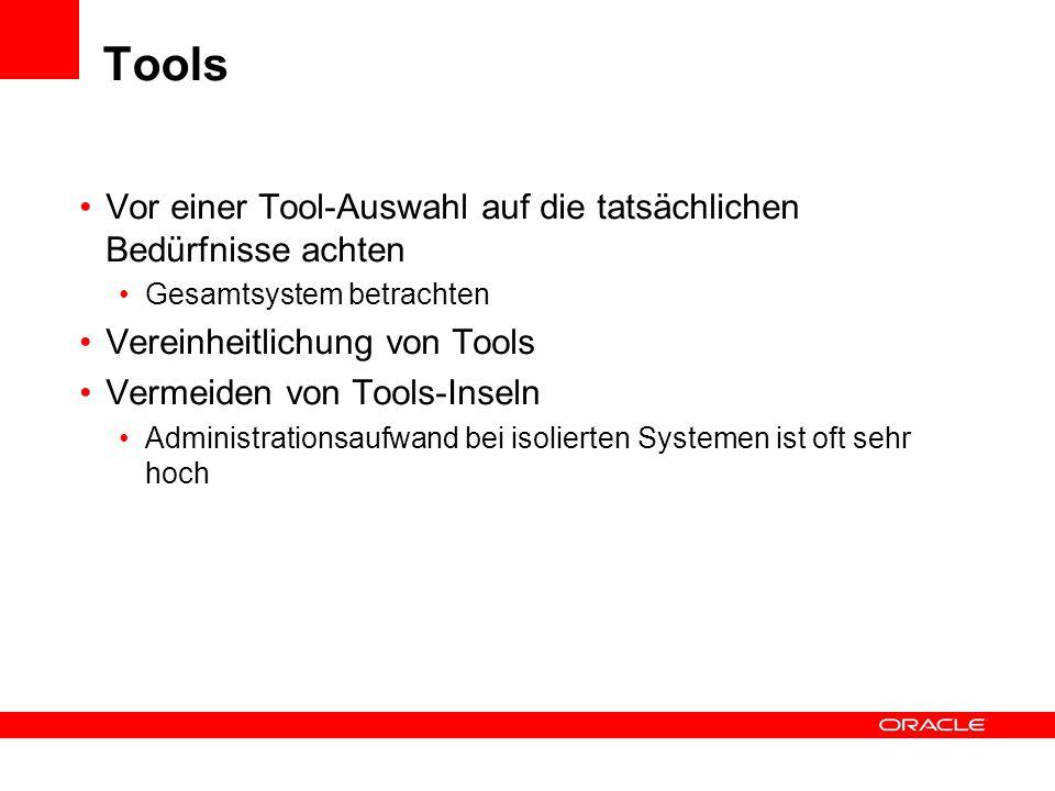Tools Vor einer Tool-Auswahl auf die tatsächlichen Bedürfnisse achten Gesamtsystem betrachten Vereinheitlichung von Tools Vermeiden von Tools-Inseln A