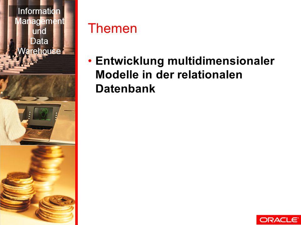 Themen Entwicklung multidimensionaler Modelle in der relationalen Datenbank Information Management und Data Warehouse