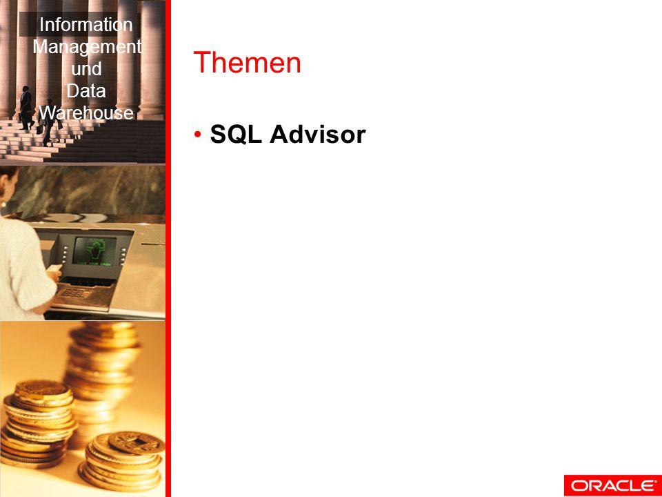 Themen SQL Advisor Information Management und Data Warehouse