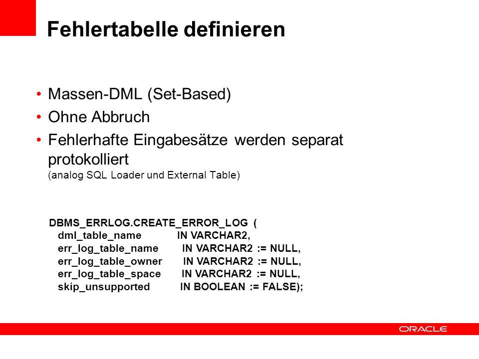 DBMS_ERRLOG.CREATE_ERROR_LOG ( dml_table_name IN VARCHAR2, err_log_table_name IN VARCHAR2 := NULL, err_log_table_owner IN VARCHAR2 := NULL, err_log_ta