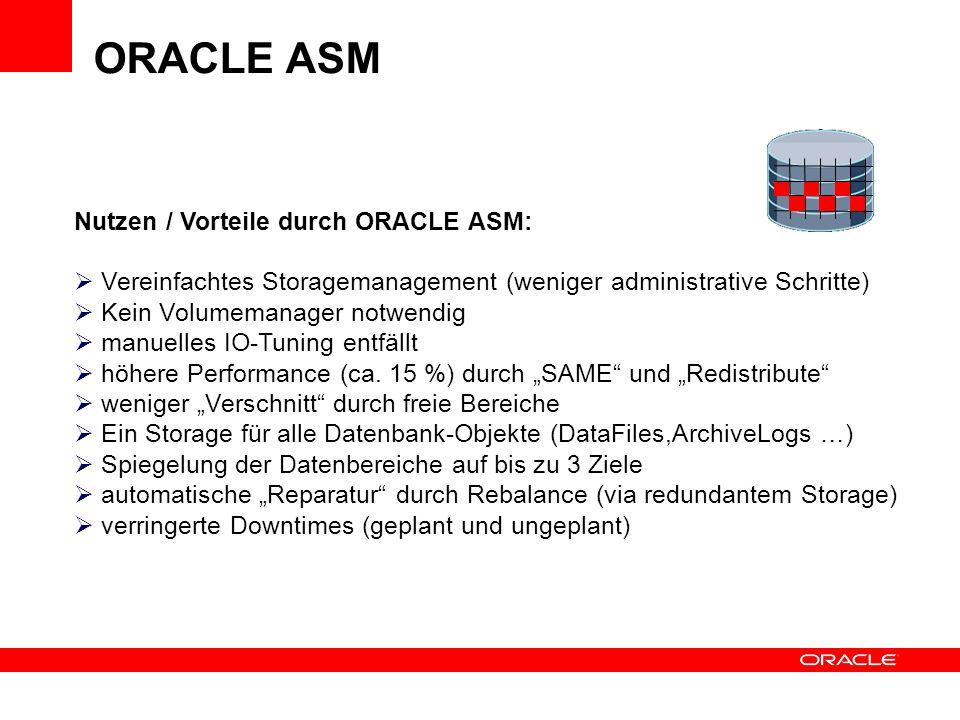 ORACLE ASM Nutzen / Vorteile durch ORACLE ASM: Vereinfachtes Storagemanagement (weniger administrative Schritte) Kein Volumemanager notwendig manuelle
