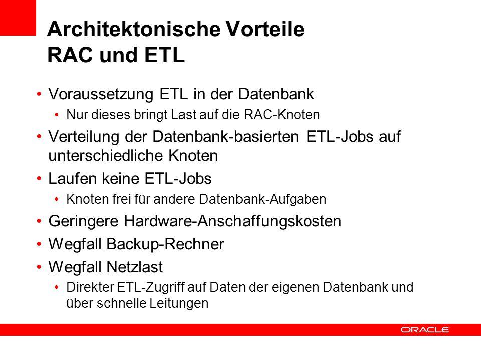 Architektonische Vorteile RAC und ETL Voraussetzung ETL in der Datenbank Nur dieses bringt Last auf die RAC-Knoten Verteilung der Datenbank-basierten