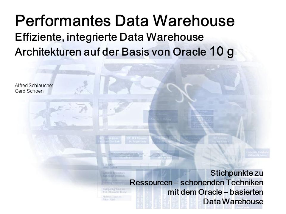 Agenda (Vormittag) 10:00 – 11:00 Data Warehouse Herausforderungen / Trends Oracle Data Warehouse Architektur 11:00 – 11:15 Kaffeepause 11:15 – 12:30 Oracle DW Komponentenübersicht Operative Daten identifizieren und qualifizieren Data Profiling / Data Quality Das Data Warehouse modellieren mit Oracle Warehouse Builder Der OWB basierte ETL Prozess Das Warehouse automatisieren mit Oracle Workflow 12:30 – 13:30 Mittagspause Information Management und Data Warehouse