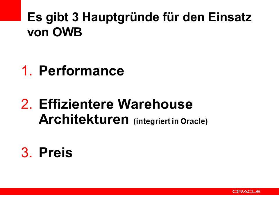 Es gibt 3 Hauptgründe für den Einsatz von OWB 1. Performance 2. Effizientere Warehouse Architekturen (integriert in Oracle) 3. Preis