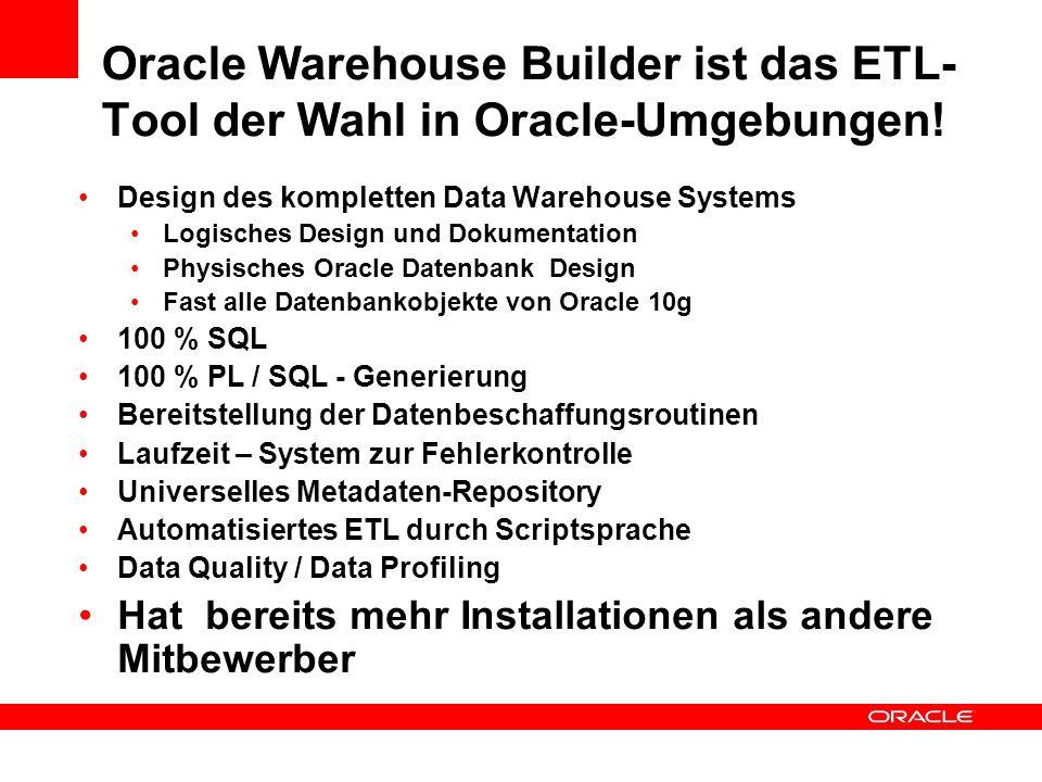 Oracle Warehouse Builder ist das ETL- Tool der Wahl in Oracle-Umgebungen! Design des kompletten Data Warehouse Systems Logisches Design und Dokumentat