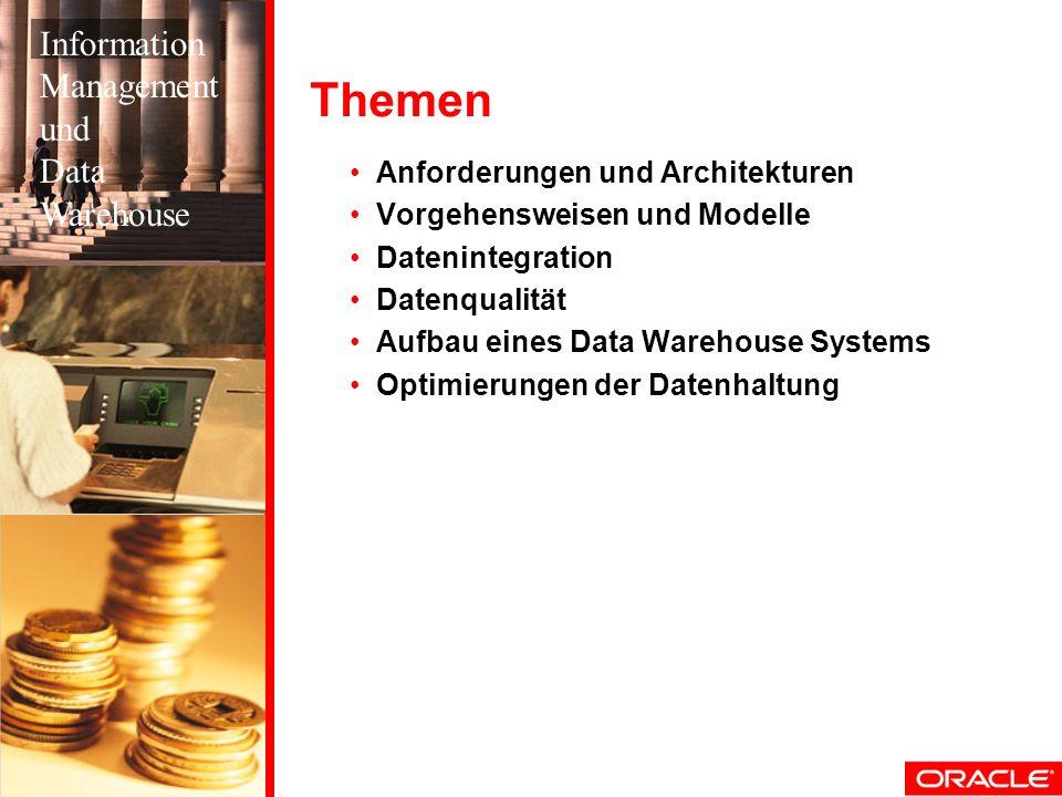 Vorteile Der Oracle-Lösung Integriert in die Datenbank und damit sehr schnell Integriert in ein ETL-Tool und damit sehr flexibel Schnell und intuitiv erlernbar Wesentlich kostengünstiger als andere Tools Data Profiling Data Profiling Data Quality Data Quality Rules ETL Rules Oracle Warehouse Builder