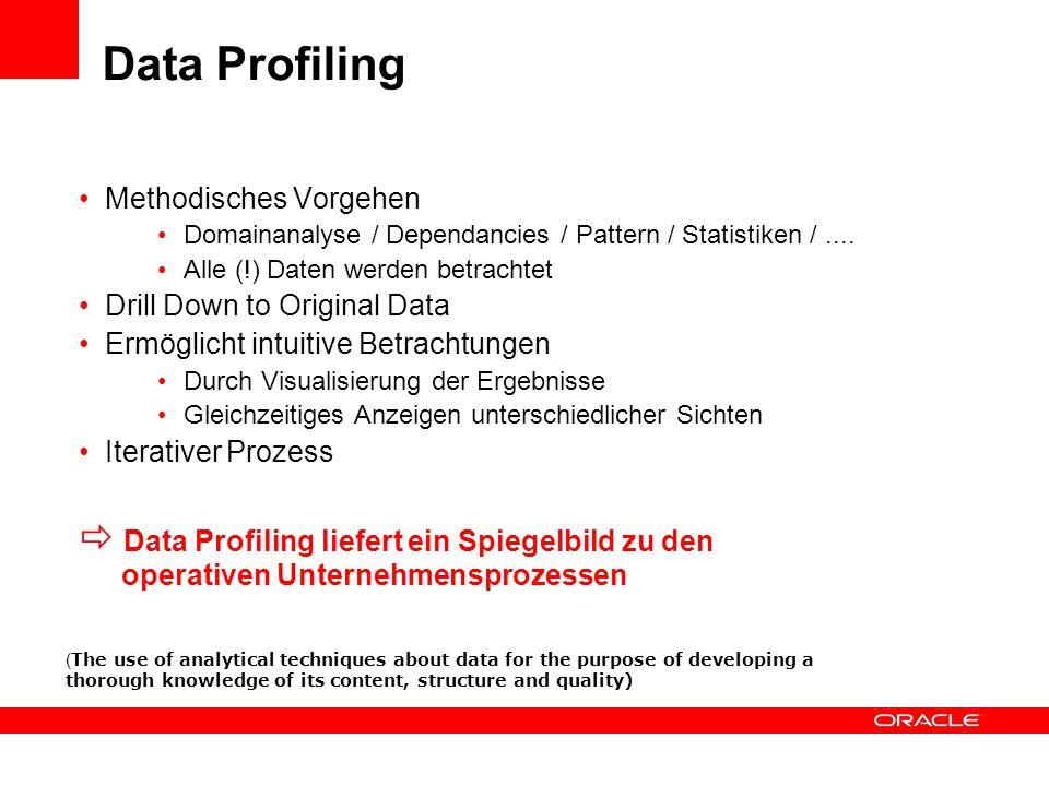 Data Profiling Methodisches Vorgehen Domainanalyse / Dependancies / Pattern / Statistiken /.... Alle (!) Daten werden betrachtet Drill Down to Origina
