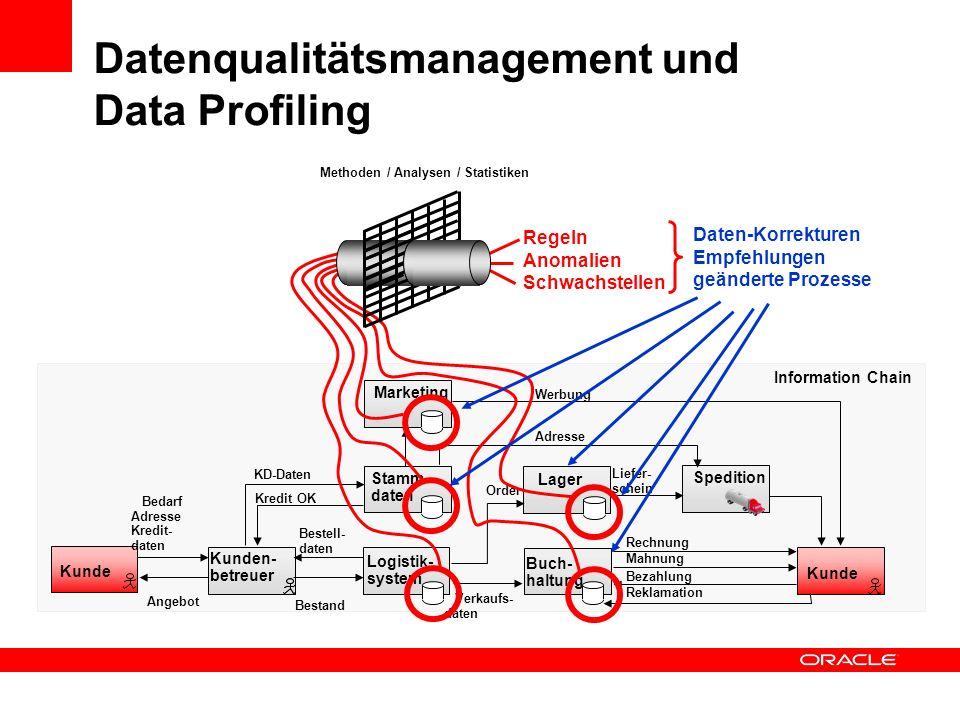 Datenqualitätsmanagement und Data Profiling Information Chain Kunde Kunden- betreuer Logistik- system Stamm- daten Marketing Buch- haltung Lager Spedi